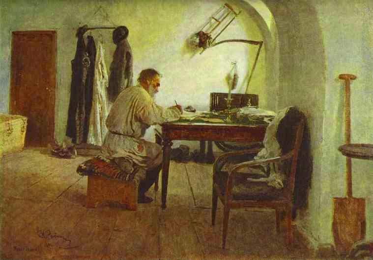 """Iliá Repin, """"Retrato de León Tolstói en su estudio"""""""