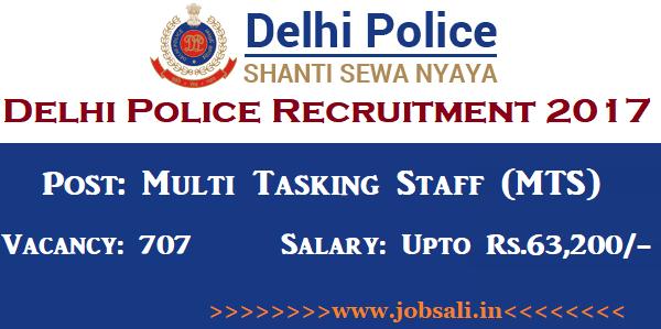 Delhi Police Vacancy, Delhi Police MTS Recruitment 2018, Delhi Police jobs