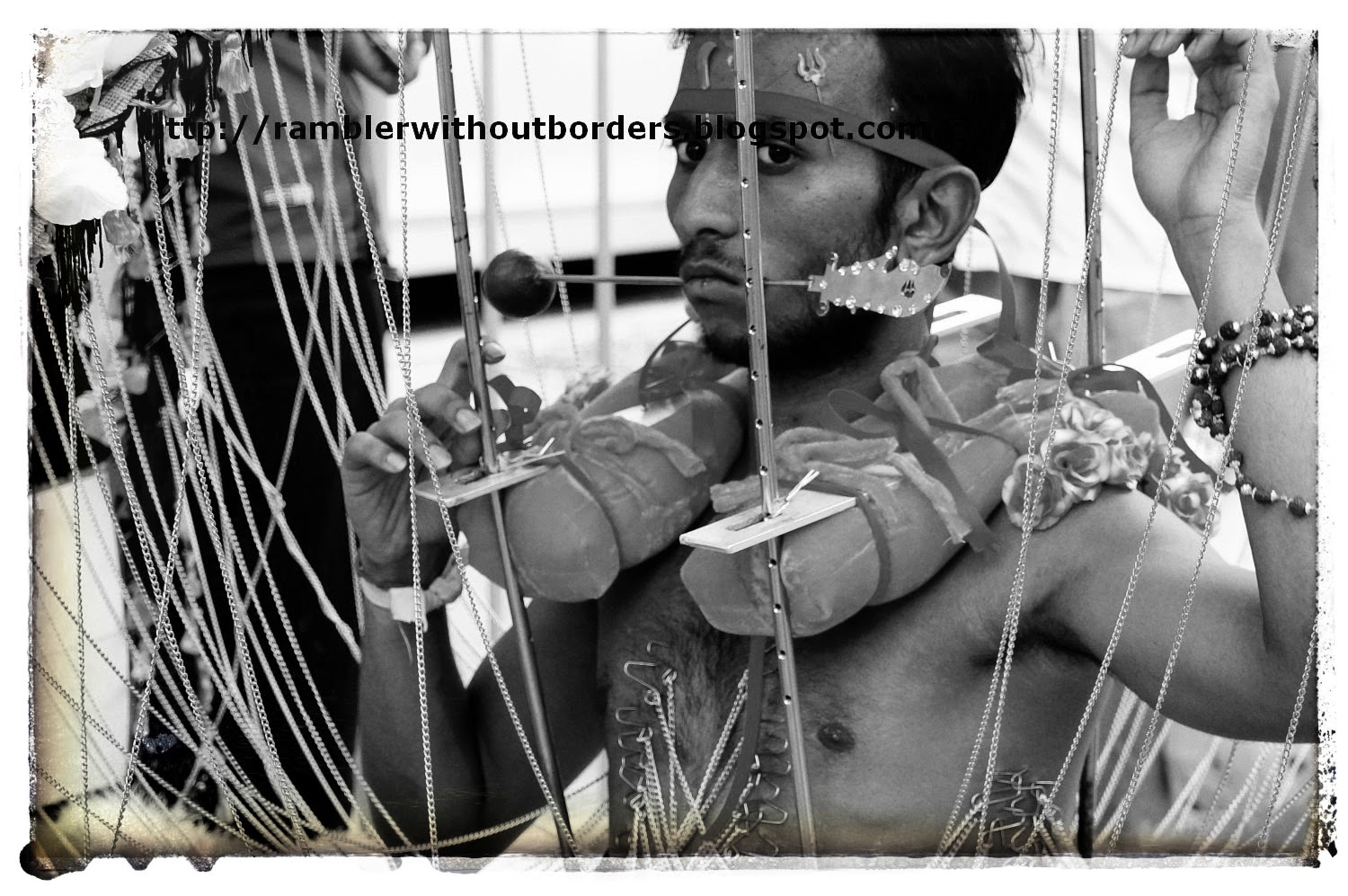 Devotee carrying a kavadi during Thaipusam Festival, Singapore