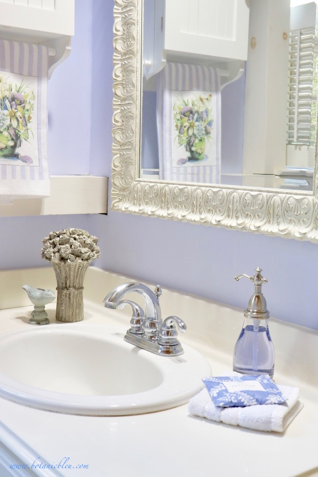 French Country lavender sachets and soaps add French style to a bathroom