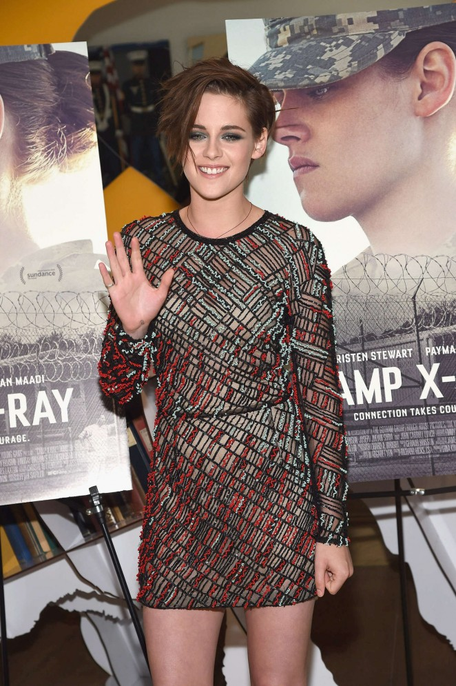 Kristen Stewart wears a J. Mendel fishnet dress to the 'Camp X-Ray' New York premiere