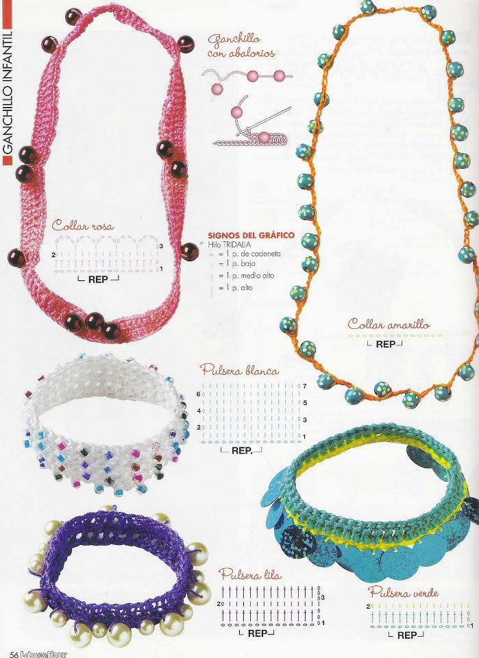 Patrón/Pattern: Collares y pulseras al crochet / Crocheted necklaces ...