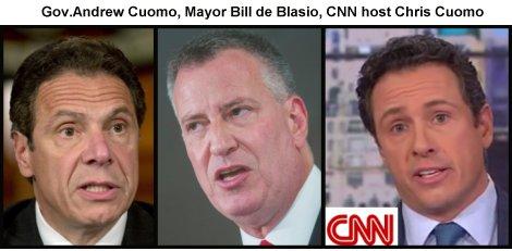 Gov.Andrew Cuomo, Mayor Bill de Blasio, CNN host Chris Cuomo