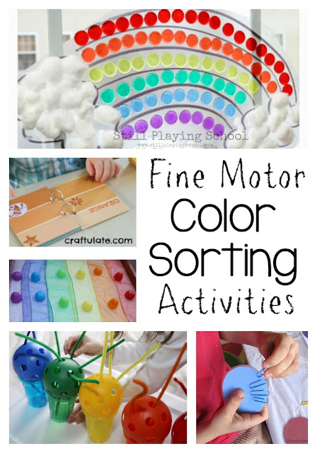 Fantastic color sorting activities for kids to work on fine motor skills. Great for preschool with a rainbow theme!