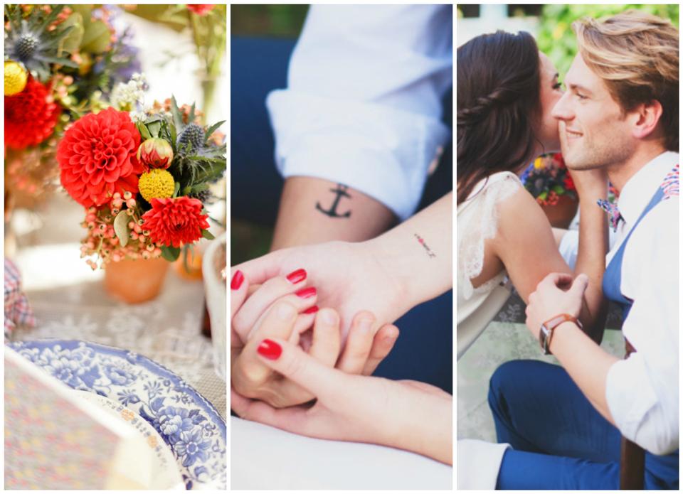 Mariage: inspiration en bleu et rouge