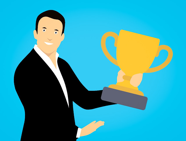 Funny cartoon of a man holding a trophy, reward