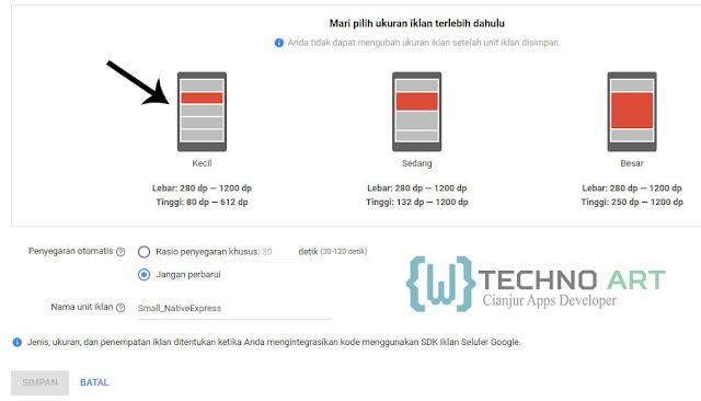 WildanTechnoArt-AdMob Memilih Jenis Ukuran Untuk Unit Iklan Netive Express