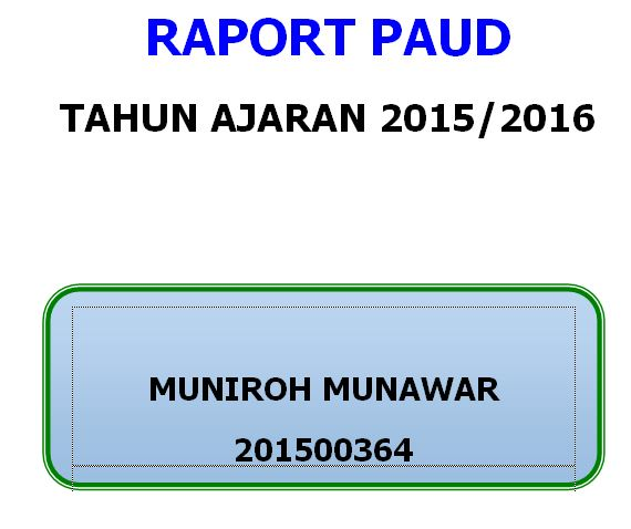 Download Contoh Raport PAUD Terbaru