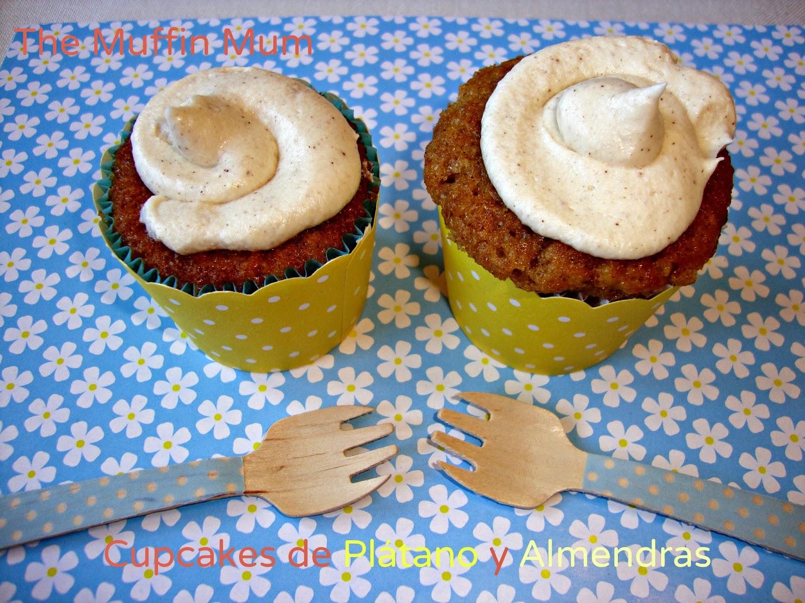 Cupcakes de plátano y almendras