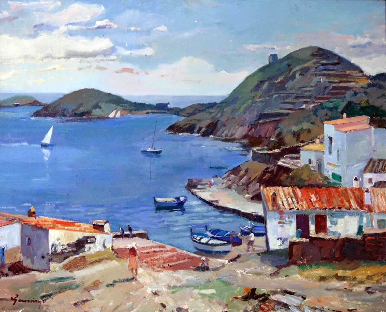 Pere Gussinyé Gironella, Cadaqués en pintura, Pintura Catalana, Pintores españoles, Pintura española, Vista de Port Lligat