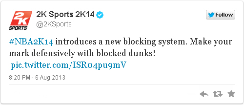 NBA2K14 introduces a new blocking system. Make your mark defensively with blocked dunks!