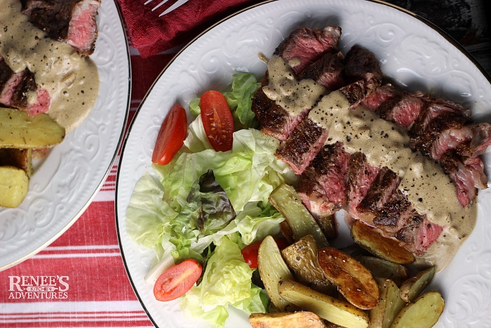 Steak au Poivre with Fingerling Potatoes recipe for Two