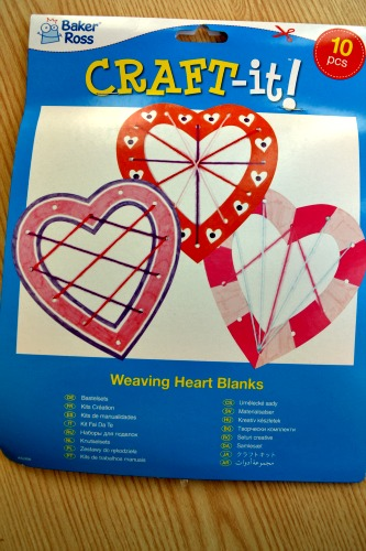 Weaving heart blanks for valentines day from Baker Ross @ ups and downs, smiles and frowns