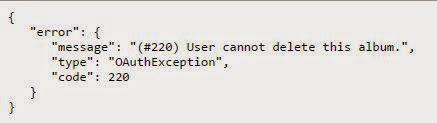 Error message of delete photos hack