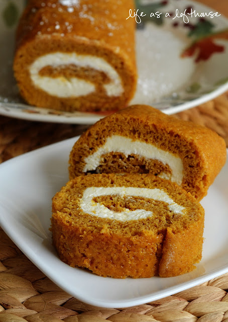 Moist pumpkin rolls filled with a creamy cream cheese filling. Life-in-the-Lofthouse.com