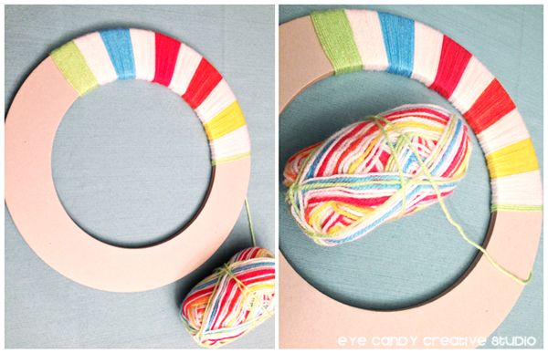 how to wrap yarn, rainbow party decor, wrapping yarn on wreath