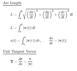 Formulas of vector calculus,length of arc,unit tangent vector,curvature,osculating,torsion,acceleration,