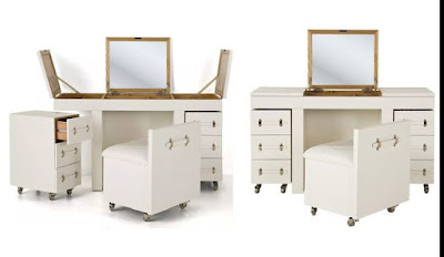 white wooden dressing table designs for modern bedroom with folding mirror and storage ideas