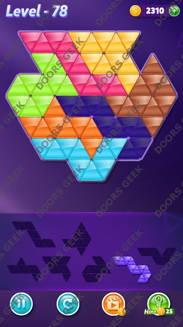Block! Triangle Puzzle 7 Mania Level 78 Solution, Cheats, Walkthrough for Android, iPhone, iPad and iPod