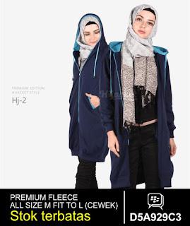 jaket muslimah panjang lutut biru dongker