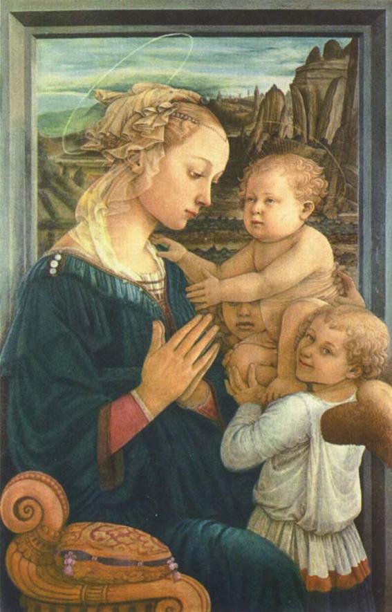 Virgen con el niño y dos angeles. Galeria Uffizi