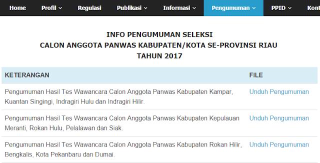 Hari Ini..Pengumuman Hasil Tes Wawancara Panwas Kabupaten/Kota Se-Riau