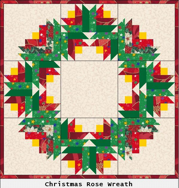 Scrapbox Quilts Christmas Rose Wreath