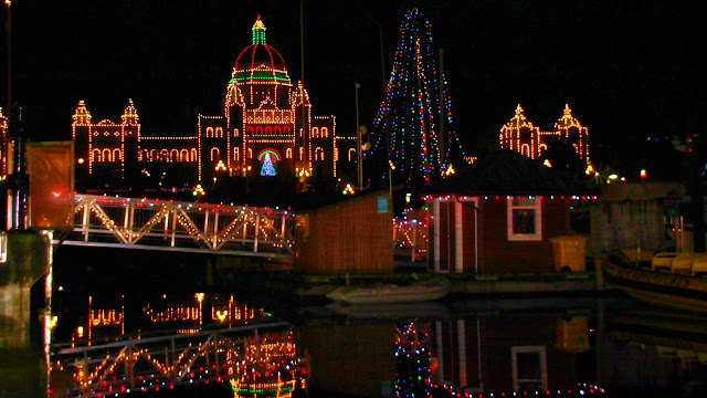BC's provincial legislature lit up for the season...