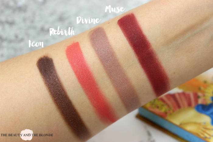 Lime Crime Venus Palette, Swatches Icon, Rebirth, Muse, Divine, Muse, Eyeshadows