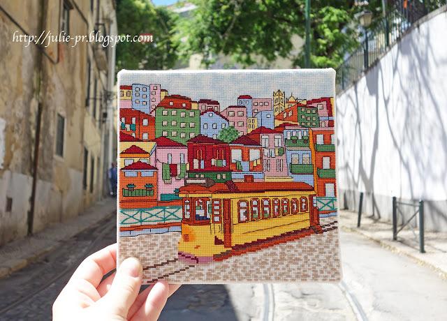 Лиссабон, трамвай, желтый лиссабонский трамвай, вышивка крестом, журнал вышиваю крестиком