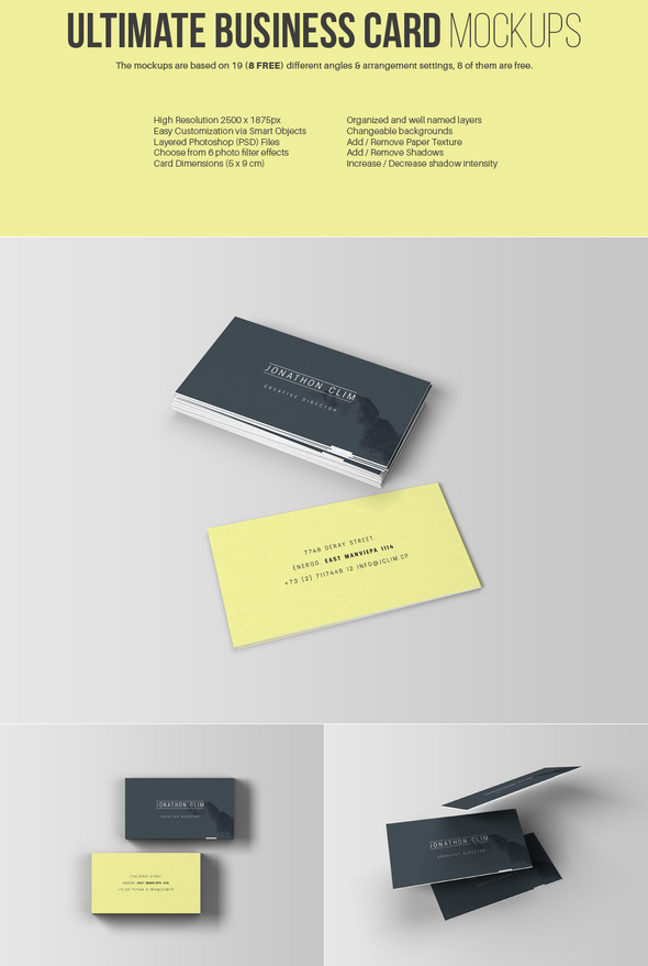Free PSD Business Card Mockups - دروس4يو Dros4U