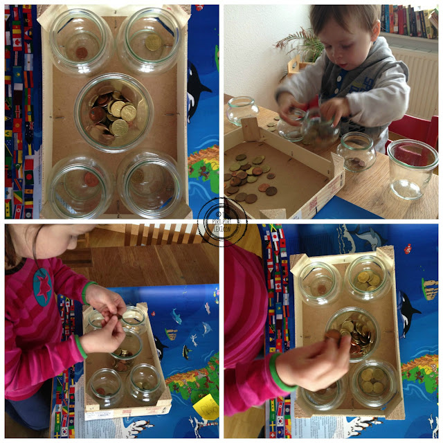 Coin sorting activity Montessori style