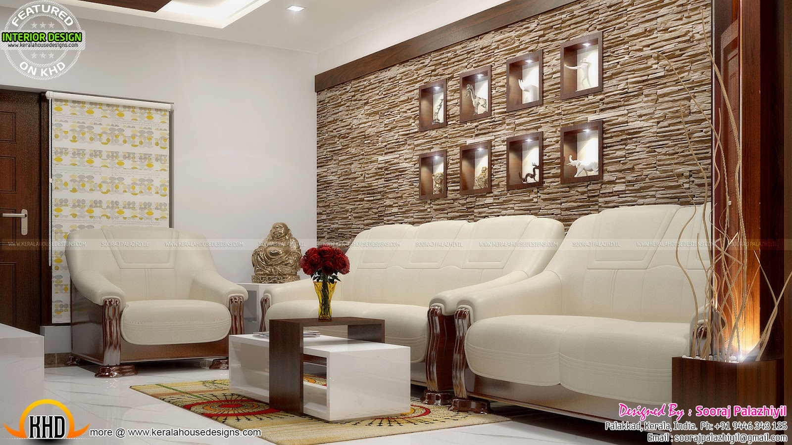 Simple apartment interior in kerala kerala home design for Kerala house living room interior design