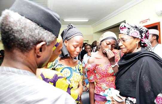 Vice-President Yemi Osinbajo during his meeting with the 21 freed Chibok girls in Abuja