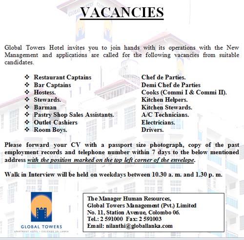 Kitchen Steward: Vacancies For Restaurant Captains, Chef De Parties, Bar