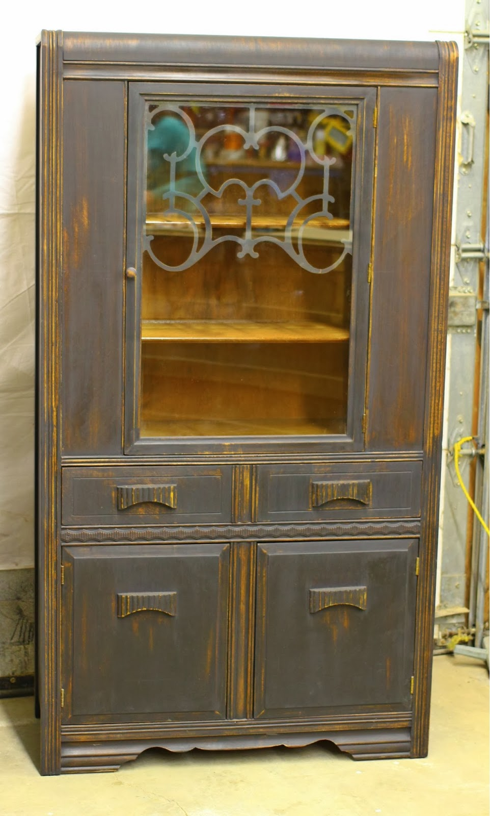Laurel S Attic Black Vintage Buffet And China Cabinet Sold
