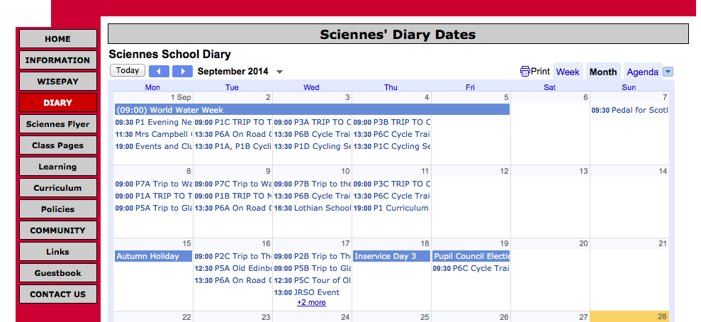 Sciennes Diary Dates