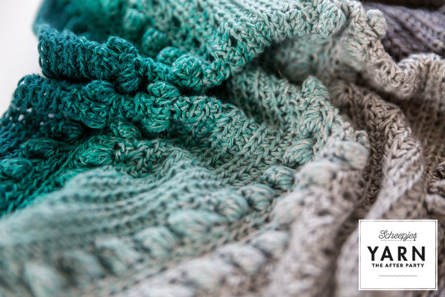 Scheepjes Whirl crochet pattern, Stormy Day shawl (Photo by Scheepjes) | Happy in Red