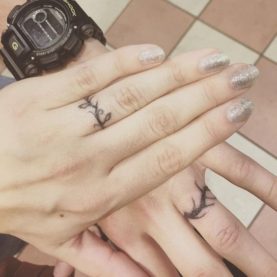cute wedding ring tattoos for couple