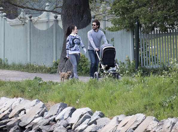 Prince Carl Philip, Princess Sofia and Prince Alexander were photographed while they were walking around Villa Solbacken (literally Villa Sunny Hill) in Djurgården