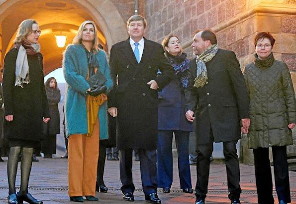 Queen Maxima wore Claes Iversen Pan Suit - AW2015, Natan coat and Gianvito Rossi suede pumps