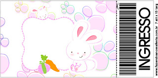 Easter Bunny in Pink Squares: Free Printable Invitations.