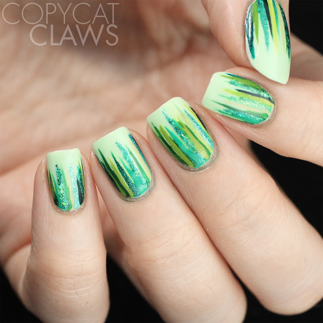 Green Waterfall Nail Art
