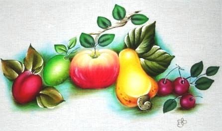 pintura em tecido pano de prato frutas
