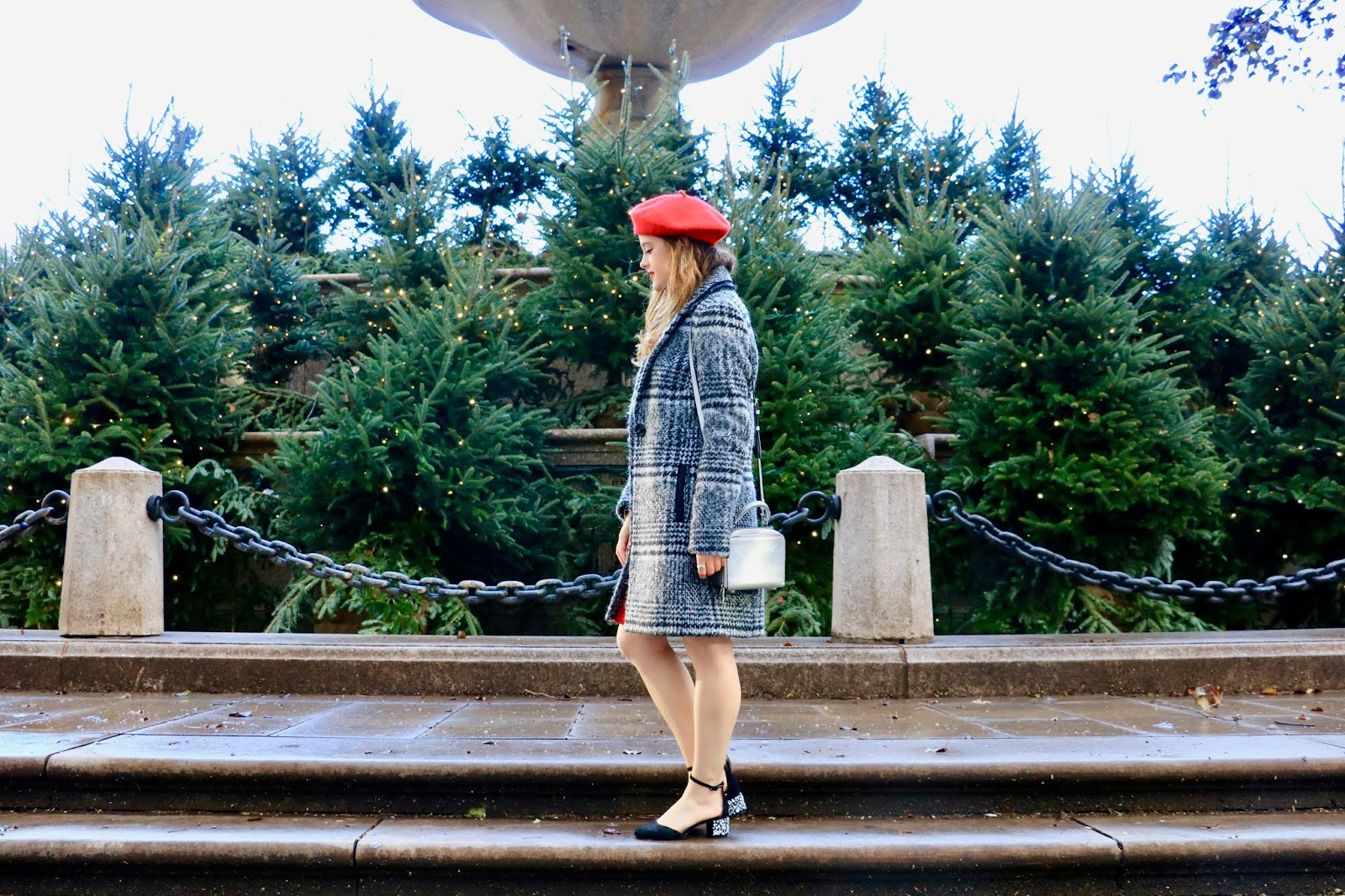 Nyc fashion blogger Kathleen Harper at the Plaza Hotel at Christmas