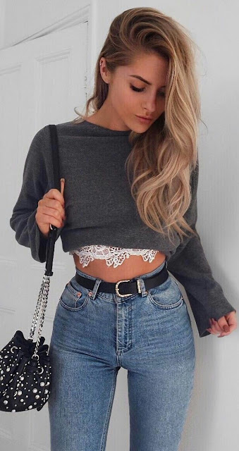 Crop sweater shirt with denim