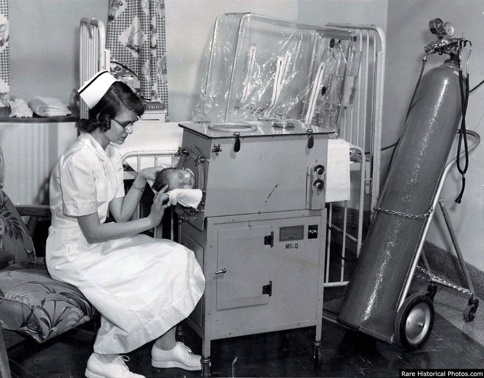 1950 pulmón infantil de hierro.
