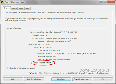 How to check your directX version