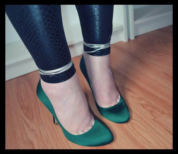 wearing green satin Miu Miu courts with silver ankle ties