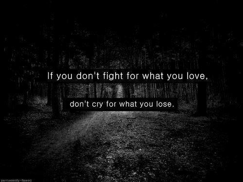 If You Don't Fight For What You Love Don't Cry For What